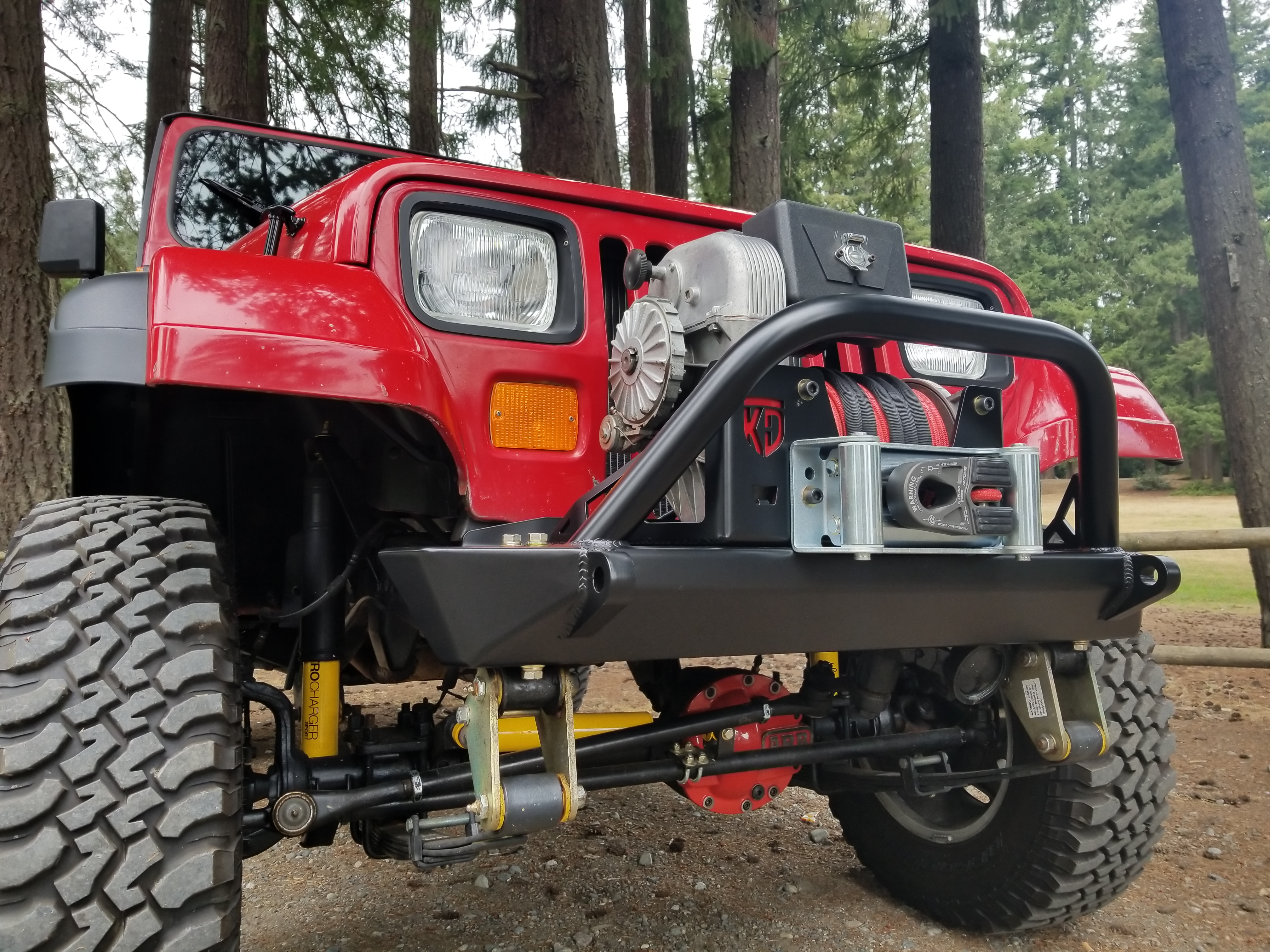 87-95 YJ Front Rock Crawler Bumper with Hoop