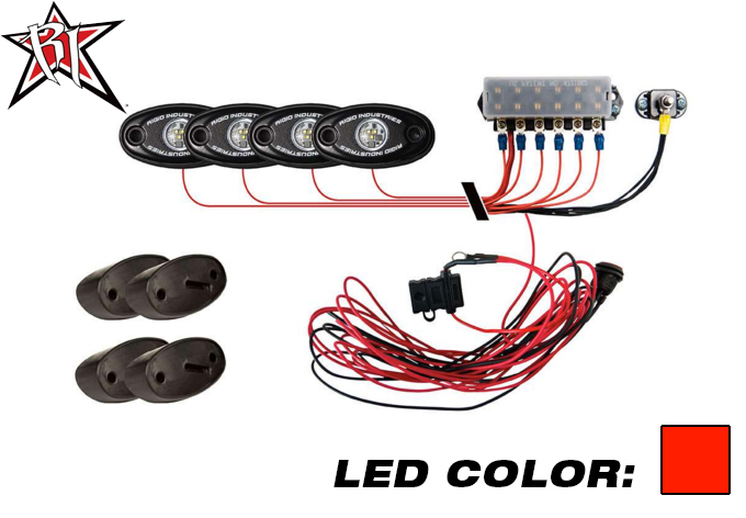 A-Series PRO Rock Light Kit - 4 Lights (Red)