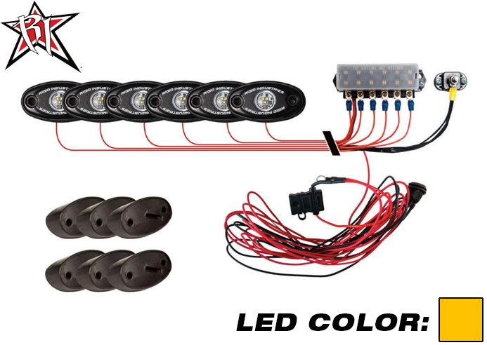 A-Series PRO Rock Light Kit - 6 Lights (Amber)